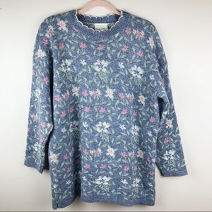Willow Bay Vintage Adele Knit Floral Sweater Sz L